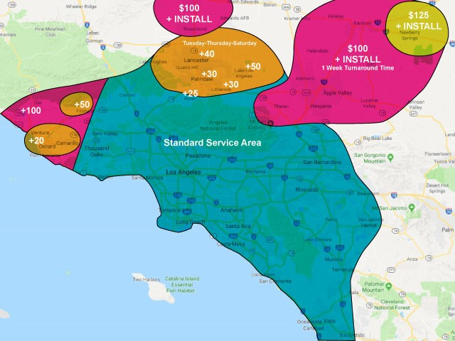 Greater Los Angeles, Anaheim, Van Nuys and Riverside Service Area